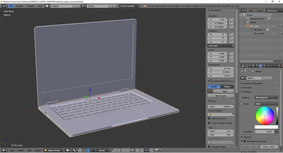 Notebook laptop computer royalty-free 3d model - Preview no. 9
