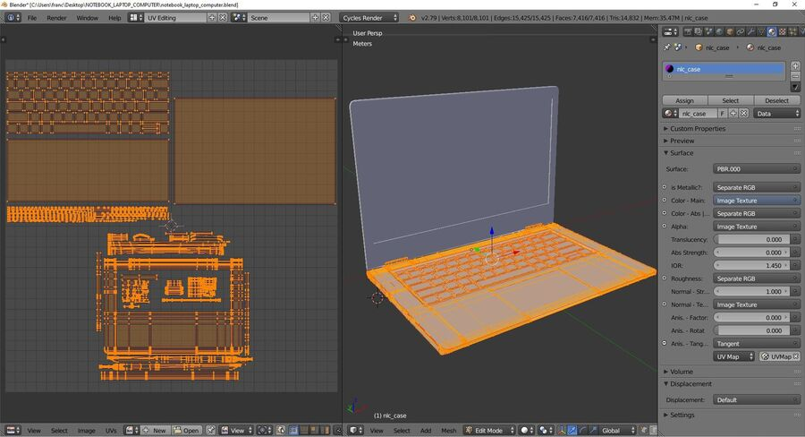 Notebook laptop computer royalty-free 3d model - Preview no. 10