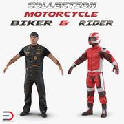 Coleção de motociclistas e motociclistas 3d model