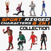 Kolekcja modeli 3D Rigged Sport Postacie 3d model