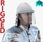 消防员穿着玛雅3D模型的渗铝消防服 3d model