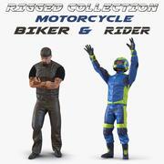 Collection de modèles 3D de motards et de motards rigged 3d model