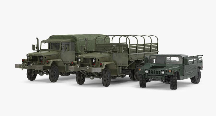 Коллекция грузовых военных автомобилей royalty-free 3d model - Preview no. 3