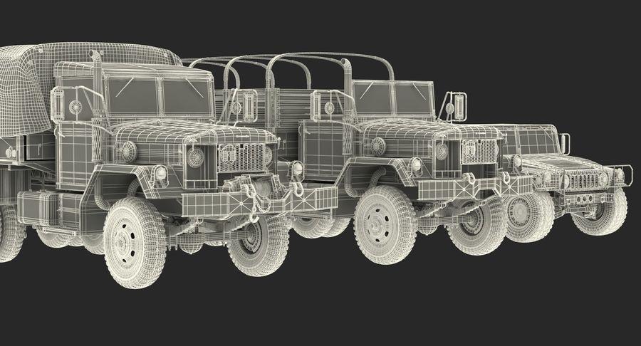 Коллекция грузовых военных автомобилей royalty-free 3d model - Preview no. 50