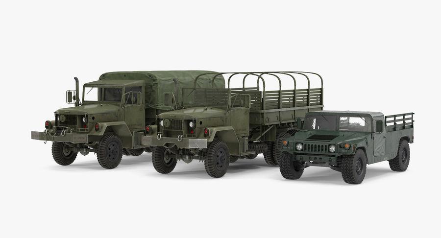 Коллекция грузовых военных автомобилей royalty-free 3d model - Preview no. 2