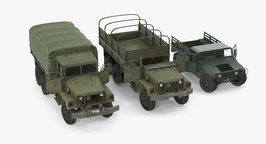 Коллекция грузовых военных автомобилей royalty-free 3d model - Preview no. 5