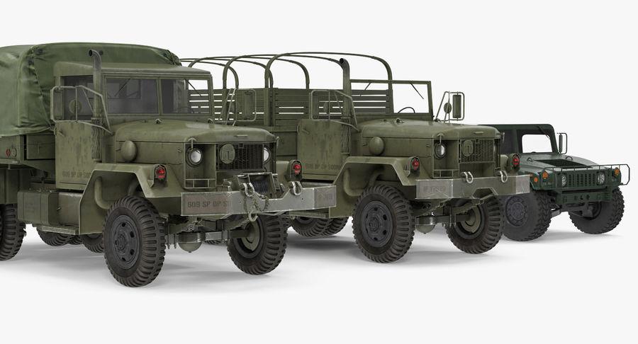Коллекция грузовых военных автомобилей royalty-free 3d model - Preview no. 7