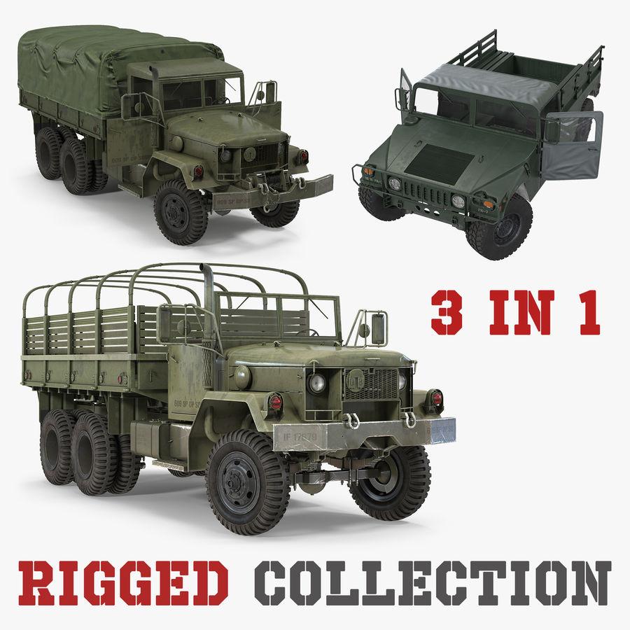 Коллекция грузовых военных автомобилей royalty-free 3d model - Preview no. 1