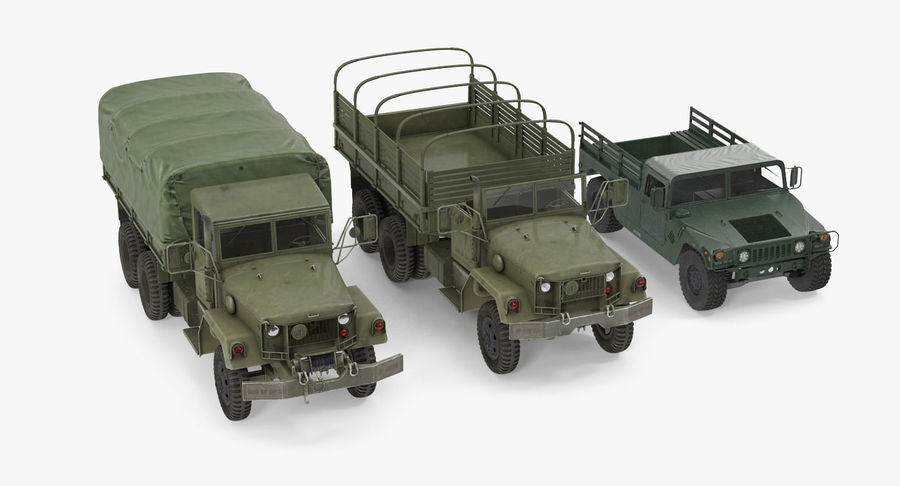 Коллекция грузовых военных автомобилей royalty-free 3d model - Preview no. 4