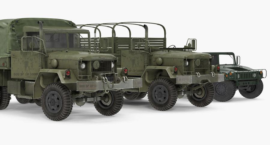 Коллекция грузовых военных автомобилей royalty-free 3d model - Preview no. 8