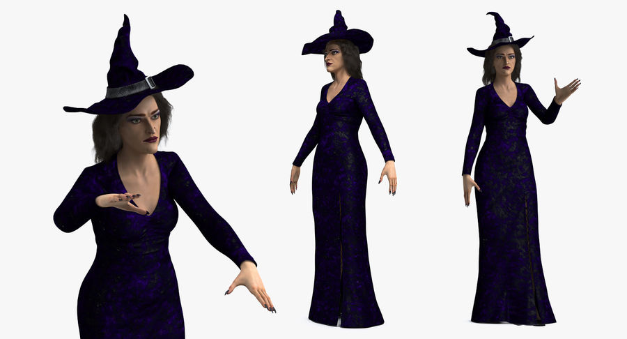 Witch Woman Rigged royalty-free 3d model - Preview no. 6