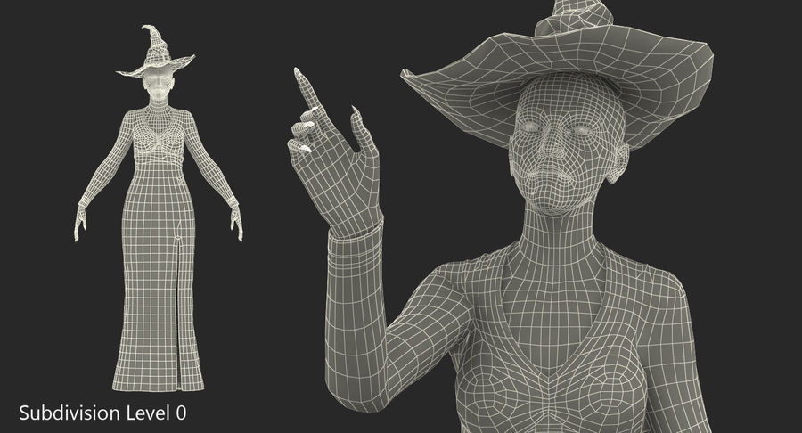 Witch Woman Rigged royalty-free 3d model - Preview no. 13