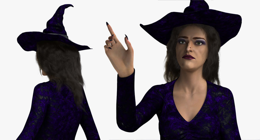 Witch Woman Rigged royalty-free 3d model - Preview no. 9