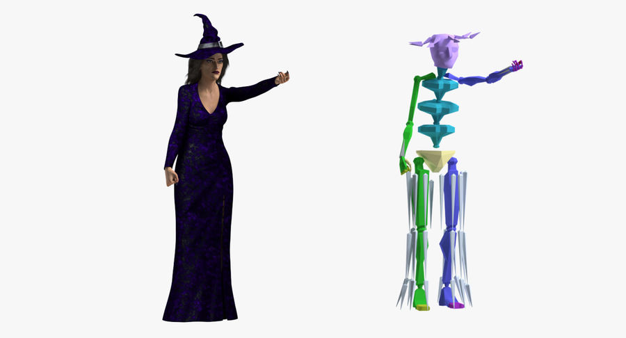Witch Woman Rigged royalty-free 3d model - Preview no. 12