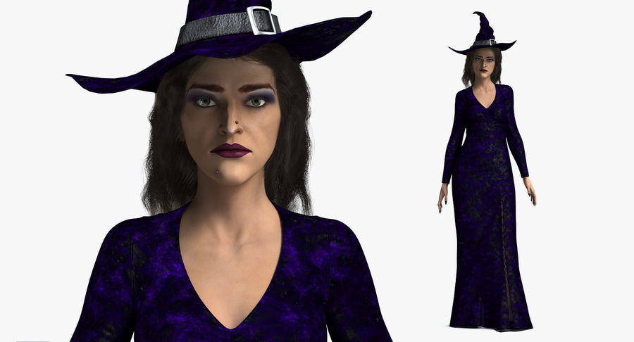 Witch Woman Rigged royalty-free 3d model - Preview no. 7