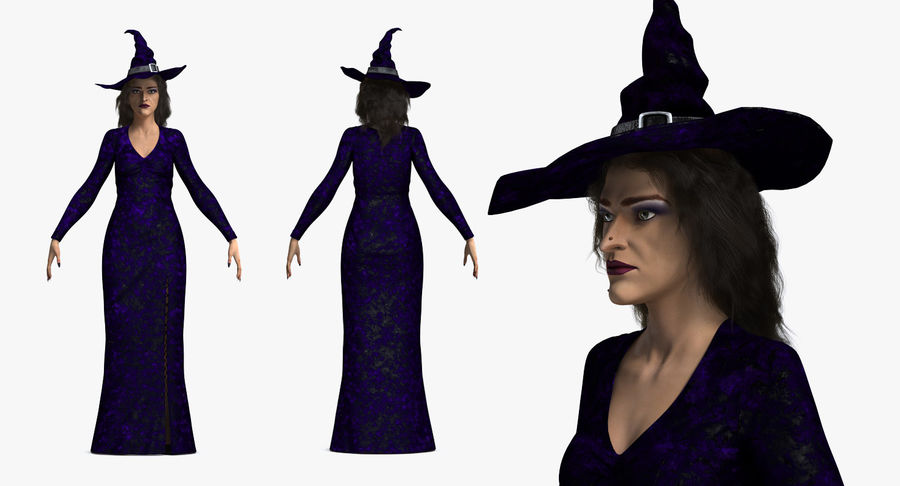 Witch Woman Rigged royalty-free 3d model - Preview no. 4