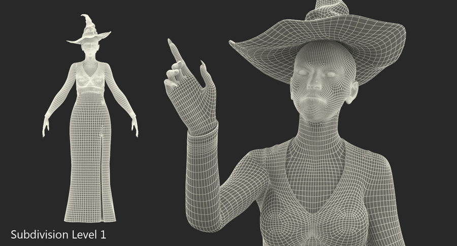 Witch Woman Rigged royalty-free 3d model - Preview no. 14