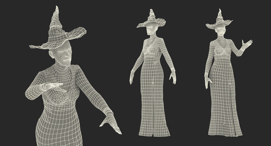 Witch Woman Rigged royalty-free 3d model - Preview no. 18