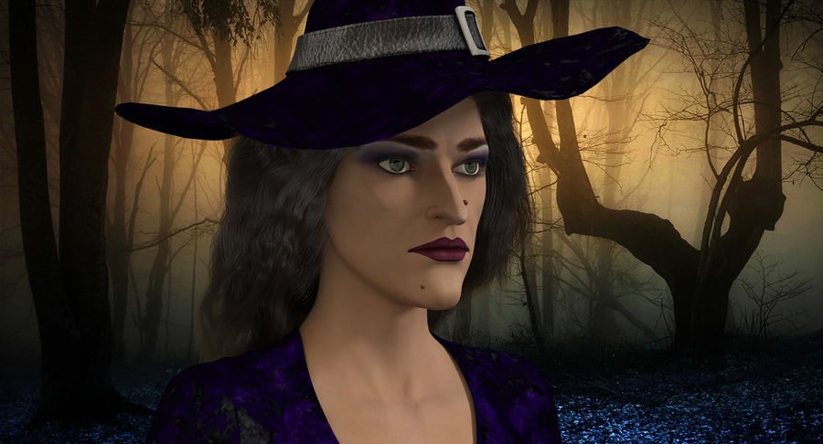 Witch Woman Rigged royalty-free 3d model - Preview no. 3