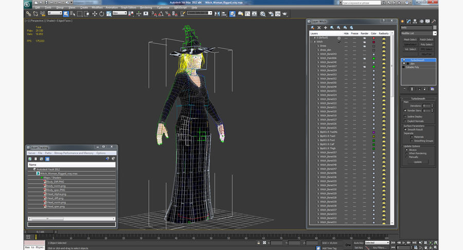 Witch Woman Rigged royalty-free 3d model - Preview no. 17