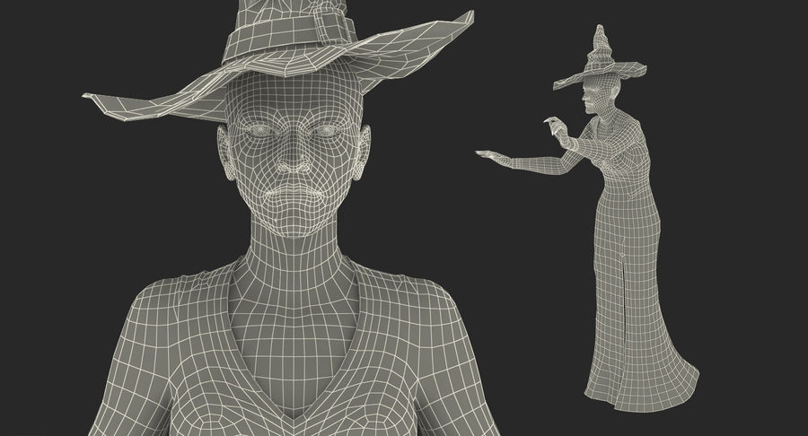 Witch Woman Rigged royalty-free 3d model - Preview no. 19