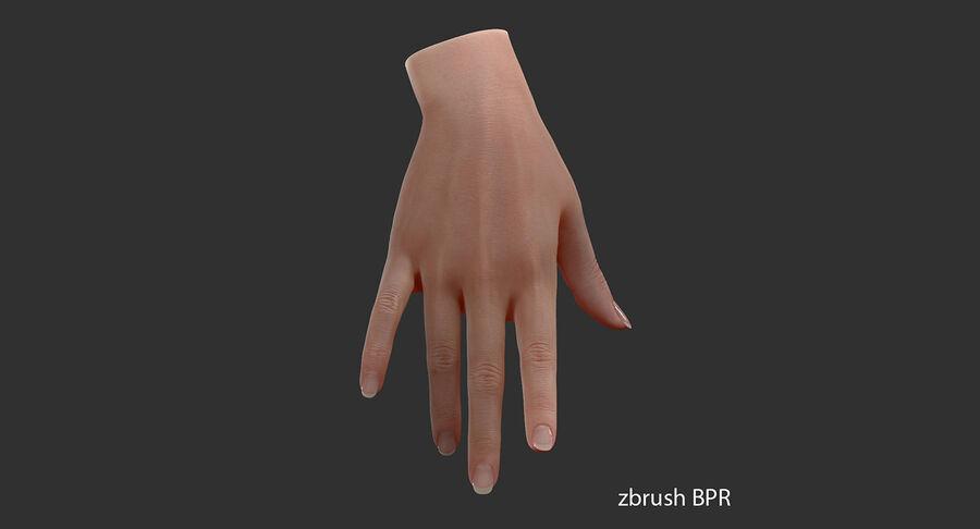 现实的女性手-源文件 royalty-free 3d model - Preview no. 3