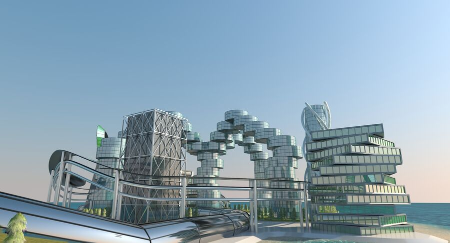 Ciudad futura royalty-free modelo 3d - Preview no. 14