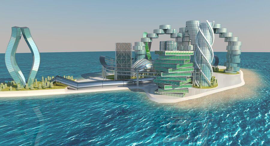 Ciudad futura royalty-free modelo 3d - Preview no. 8
