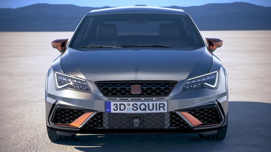 Seat Leon Cupra R 2018 royalty-free 3d model - Preview no. 10