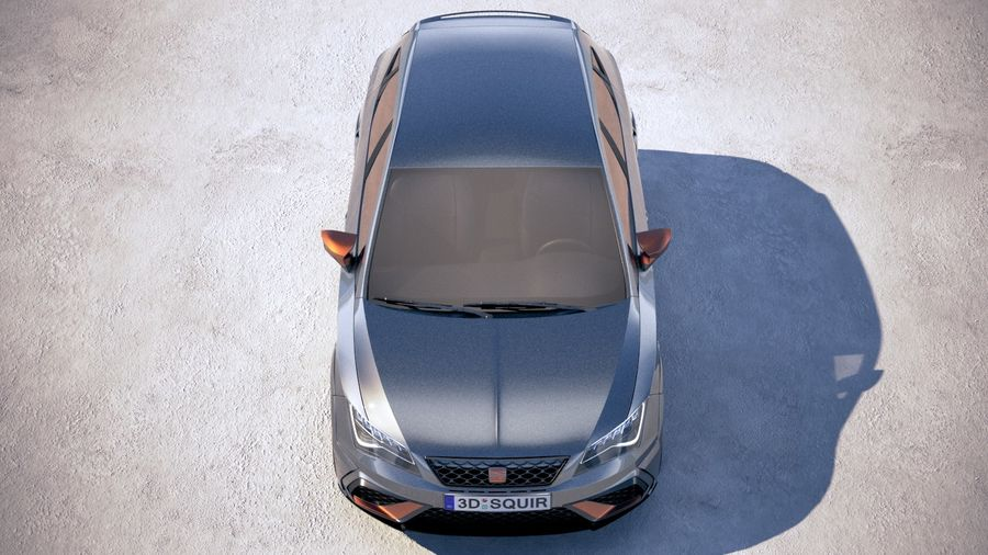 Seat Leon Cupra R 2018 royalty-free 3d model - Preview no. 9