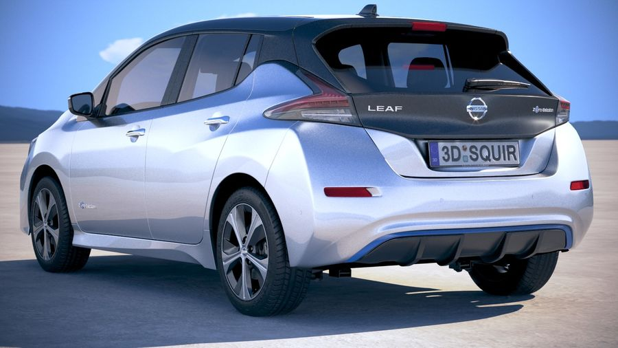 Nissan Leaf 2018 royalty-free 3d model - Preview no. 14