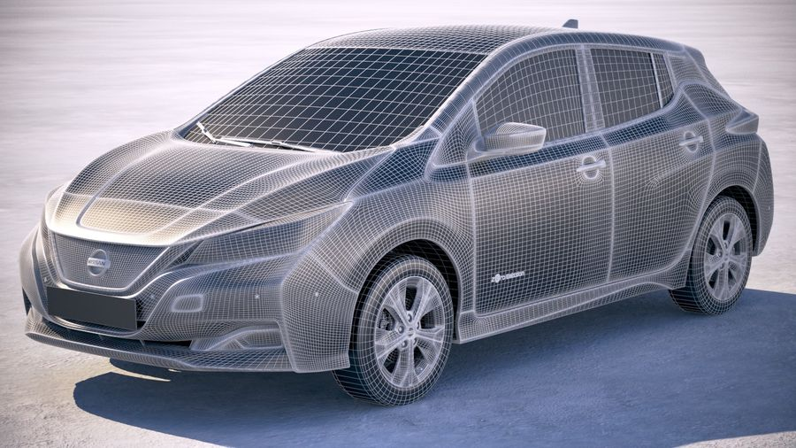 Nissan Leaf 2018 royalty-free 3d model - Preview no. 18