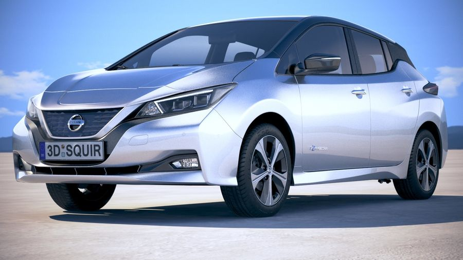 Nissan Leaf 2018 royalty-free 3d model - Preview no. 13