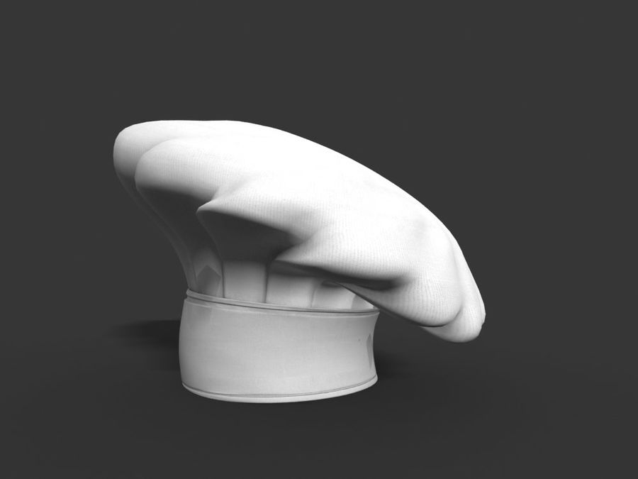 Chef hat royalty-free 3d model - Preview no. 4