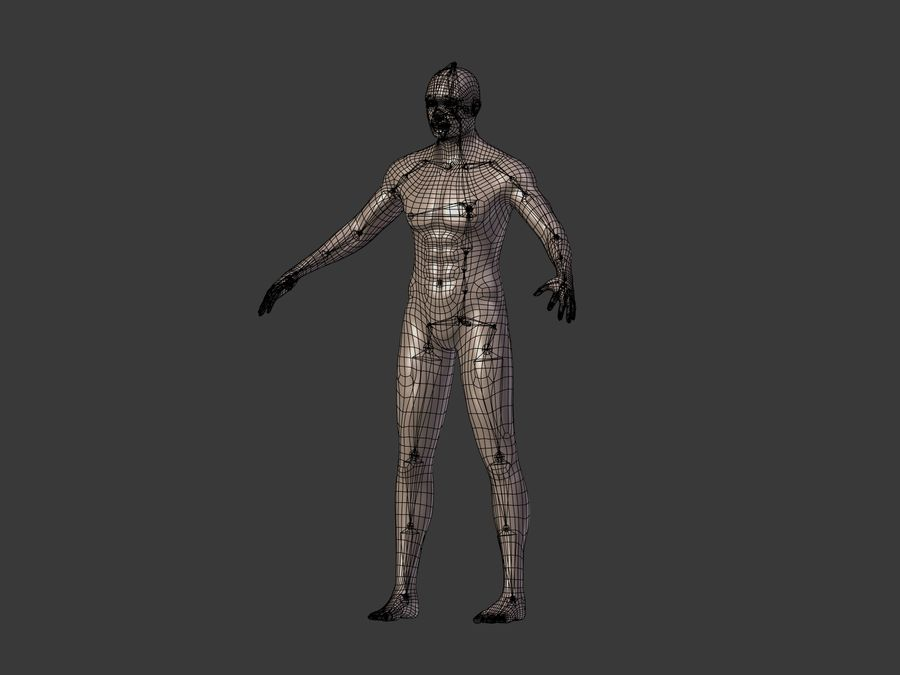 Man 3 Textures royalty-free 3d model - Preview no. 19