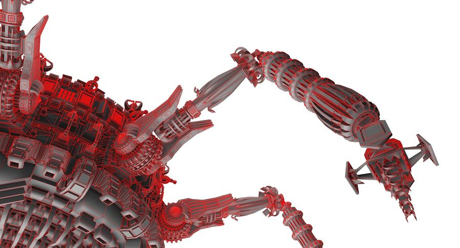 SciFi Robot Spacecraft Spider royalty-free 3d model - Preview no. 11