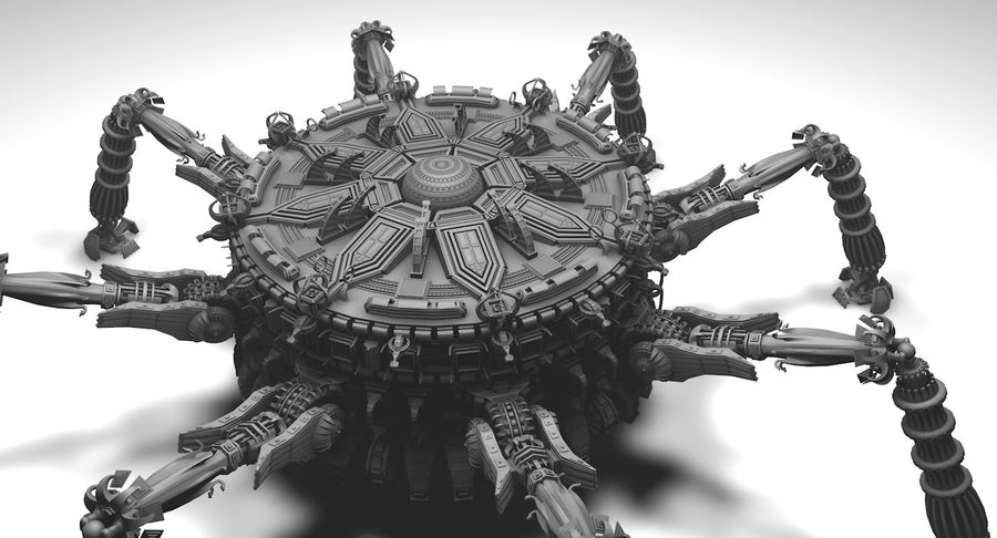 SciFi Robot Spacecraft Spider royalty-free 3d model - Preview no. 6