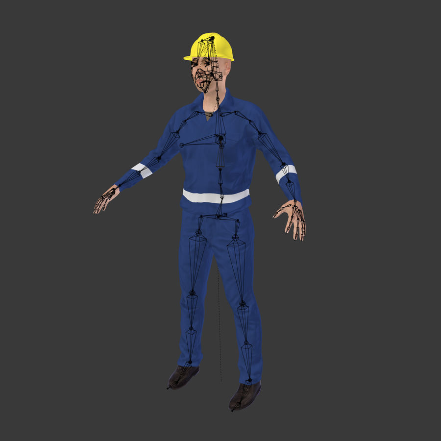Construction Worker royalty-free 3d model - Preview no. 6