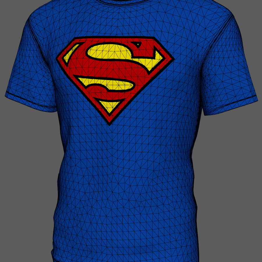 Maglietta Superman royalty-free 3d model - Preview no. 8