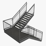 Exterior Staircase Landing Style 3d model