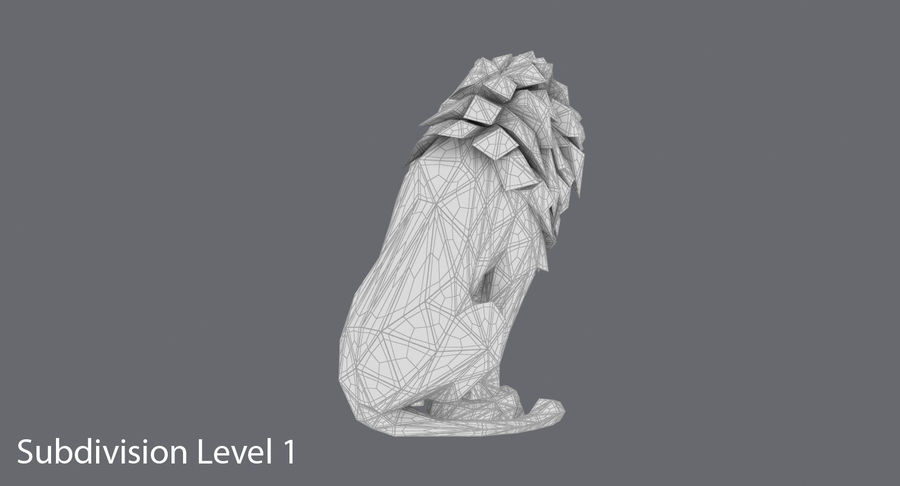 Lion Sitting royalty-free 3d model - Preview no. 19