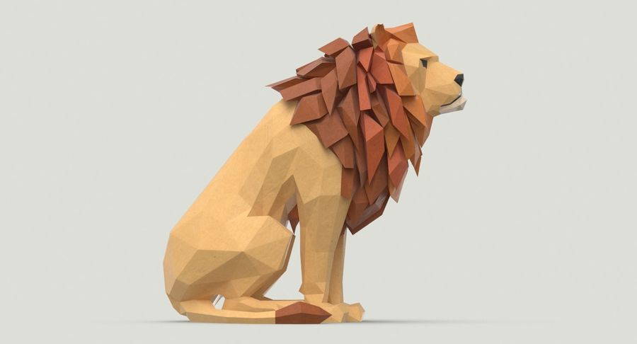 Lion Sitting royalty-free 3d model - Preview no. 9