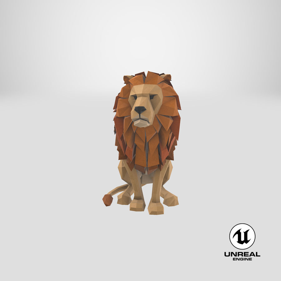Lion Sitting royalty-free 3d model - Preview no. 26