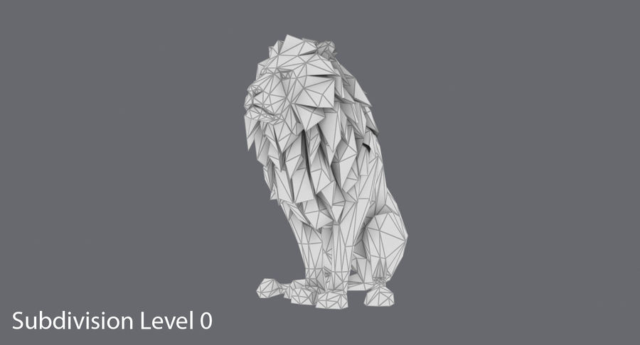 Lion Sitting royalty-free 3d model - Preview no. 14