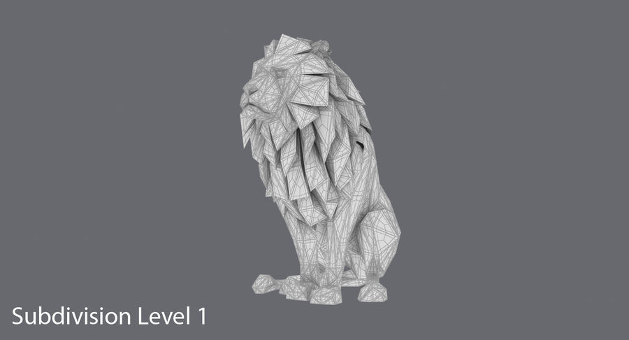 Lion Sitting royalty-free 3d model - Preview no. 17