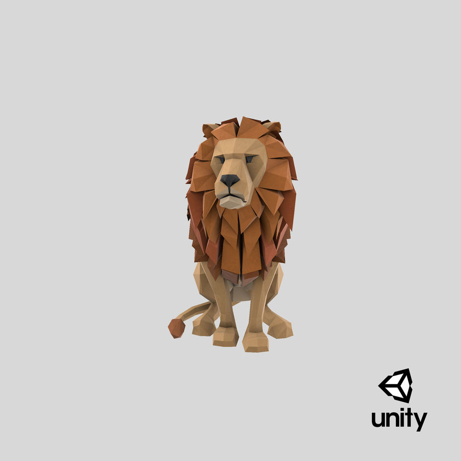 Lion Sitting royalty-free 3d model - Preview no. 25