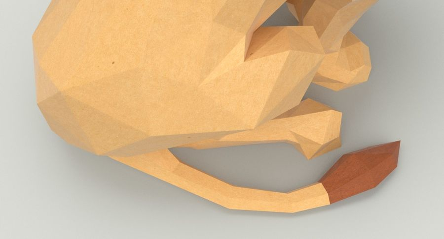 Lion Sitting royalty-free 3d model - Preview no. 11