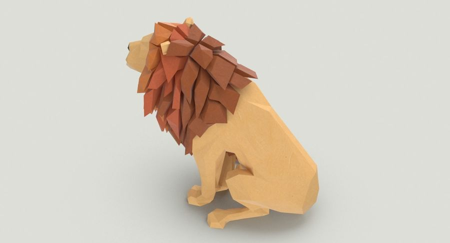 Lion Sitting royalty-free 3d model - Preview no. 8