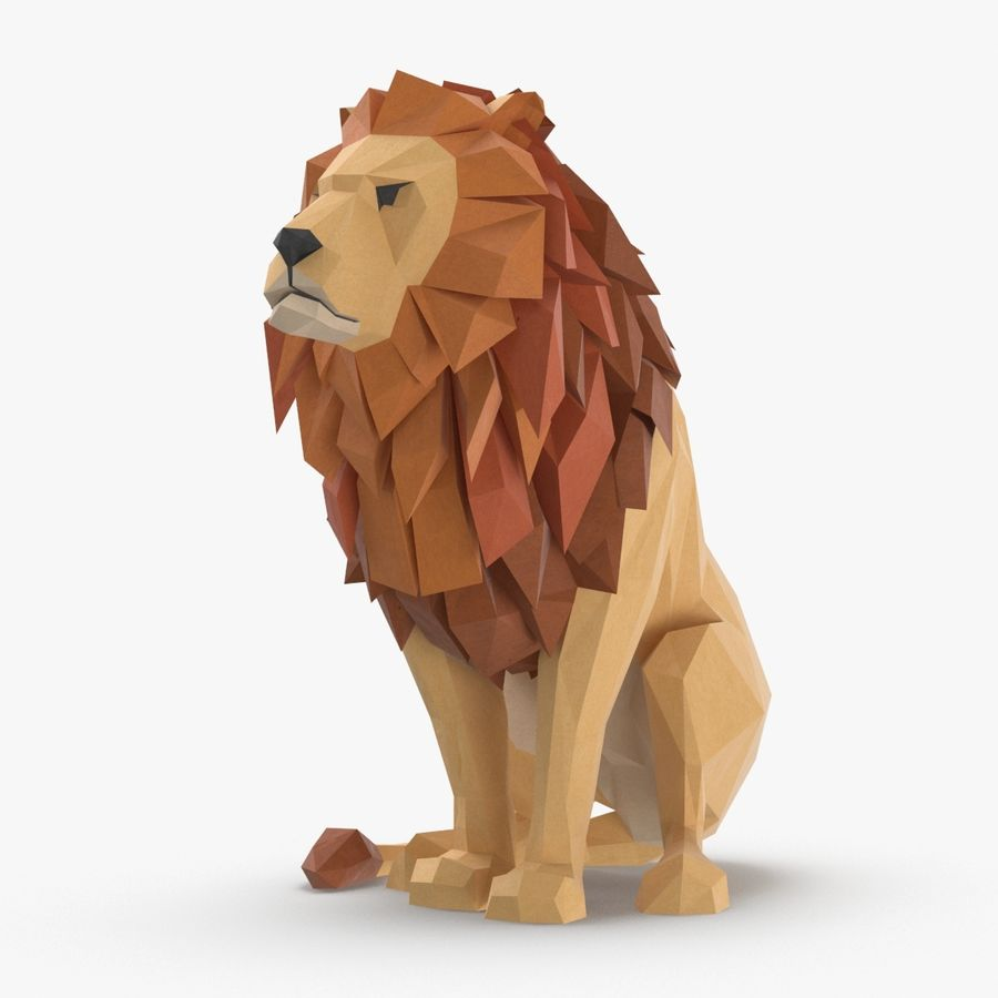 Lion Sitting royalty-free 3d model - Preview no. 1