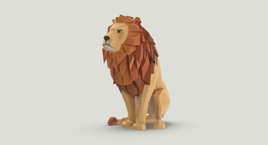Lion Sitting royalty-free 3d model - Preview no. 3